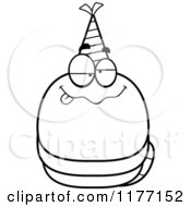 Cartoon Of A Drunk Birthday Worm Wearing A Party Hat Royalty Free Vector Clipart