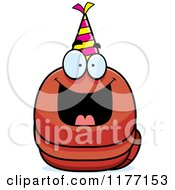 Cartoon Of A Happy Birthday Worm Wearing A Party Hat Royalty Free Vector Clipart by Cory Thoman