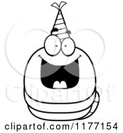 Cartoon Of A Happy Birthday Worm Wearing A Party Hat Royalty Free Vector Clipart