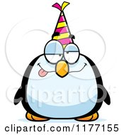Cartoon Of A Drunk Birthday Penguin Wearing A Party Hat Royalty Free Vector Clipart