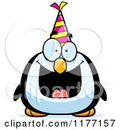 Cartoon Of A Happy Birthday Penguin Wearing A Party Hat Royalty Free Vector Clipart