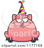 Cartoon Of A Drunk Birthday Pig Wearing A Party Hat Royalty Free Vector Clipart