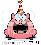 Cartoon Of A Happy Birthday Pig Wearing A Party Hat Royalty Free Vector Clipart
