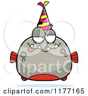 Cartoon Of A Drunk Birthday Piranha Wearing A Party Hat Royalty Free Vector Clipart by Cory Thoman