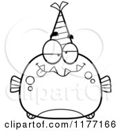 Cartoon Of A Drunk Birthday Piranha Wearing A Party Hat Royalty Free Vector Clipart