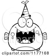 Cartoon Of A Happy Birthday Piranha Wearing A Party Hat Royalty Free Vector Clipart by Cory Thoman