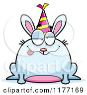 Cartoon Of A Drunk Birthday Rabbit Wearing A Party Hat Royalty Free Vector Clipart