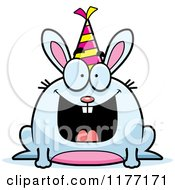 Cartoon Of A Happy Birthday Rabbit Wearing A Party Hat Royalty Free Vector Clipart