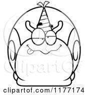 Cartoon Of A Drunk Birthday Snail Wearing A Party Hat Royalty Free Vector Clipart