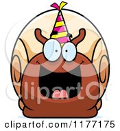 Cartoon Of A Happy Birthday Snail Wearing A Party Hat Royalty Free Vector Clipart