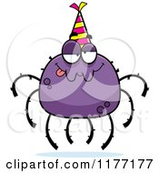 Cartoon Of A Drunk Birthday Spider Wearing A Party Hat Royalty Free Vector Clipart