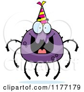Cartoon Of A Happy Birthday Spider Wearing A Party Hat Royalty Free Vector Clipart