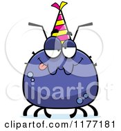 Cartoon Of A Drunk Birthday Tick Wearing A Party Hat Royalty Free Vector Clipart by Cory Thoman