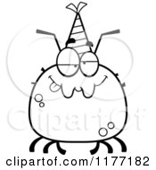 Cartoon Of A Drunk Birthday Tick Wearing A Party Hat Royalty Free Vector Clipart