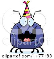 Cartoon Of A Happy Birthday Tick Wearing A Party Hat Royalty Free Vector Clipart