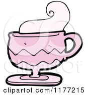 Cartoon Of A Pink Cup Of Coffee With Steam Royalty Free Vector Clipart by lineartestpilot