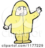 Cartoon Of A Waving Person In Yellow Royalty Free Vector Clipart