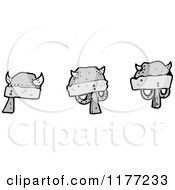 Cartoon Of Metal Helmets Royalty Free Vector Clipart by lineartestpilot