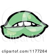 Cartoon Of A Green Mouth Royalty Free Vector Clipart by lineartestpilot