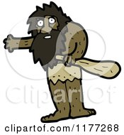 Cartoon Of A Waving Caveman Royalty Free Vector Clipart by lineartestpilot