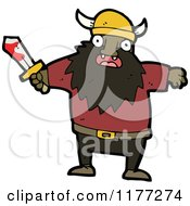 Cartoon Of A Black Viking With A Bloody Sword Royalty Free Vector Clipart by lineartestpilot