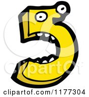 Cartoon Of A Yellow Number Five Character Royalty Free Vector Clipart