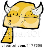 Cartoon Of A Gold Viking Helmet Royalty Free Vector Clipart by lineartestpilot