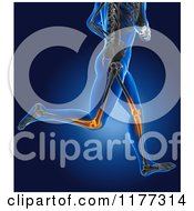 Clipart Of A 3d Xray Man Running With Glowing Knee Joints And Visible Skeleton Royalty Free CGI Illustration