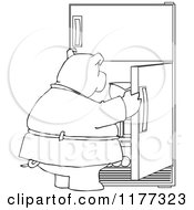 Cartoon Of An Outlined Fat Pig Staring Into A Fridge Royalty Free Vector Clipart