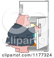 Cartoon Of A Fat Pig Staring Into A Fridge Royalty Free Vector Clipart by djart