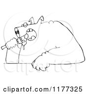 Outlined Fat Pig Shoving Food Into His Mouth