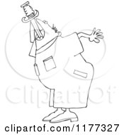 Cartoon Of An Outlined Worker Man Practicing Sword Swallowing Royalty Free Vector Clipart