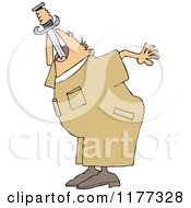 Cartoon Of A Worker Man Practicing Sword Swallowing Royalty Free Vector Clipart by Dennis Cox
