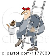 Cartoon Of A Happy Painter Worker Carrying A Ladder And Bucket Royalty Free Vector Clipart by djart