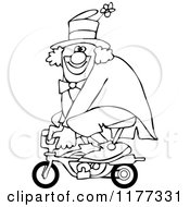 Cartoon Of An Outlined Circus Clown Riding A Mini Bike Royalty Free Vector Clipart