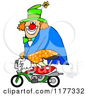 Cartoon Of A Circus Clown Riding A Mini Bike Royalty Free Vector Clipart