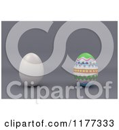 Clipart Of A 3d Plain Egg By A Decorated Easter Egg On Gray Royalty Free CGI Illustration