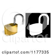 Clipart Of A 3d Unlocked Gold Padlock With Alpha Mask Royalty Free CGI Illustration by stockillustrations