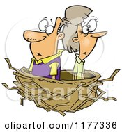 Cartoon Of A Middle Aged Couple In An Empty Nest Royalty Free Vector Clipart