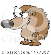 Cartoon Of A Grinning Hedgehog Standing Royalty Free Vector Clipart