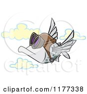 Cartoon Of A Pilot Fish Flying Royalty Free Vector Clipart