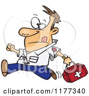 Cartoon Of A Running Male EMT With A First Aid Kit Royalty Free Vector Clipart