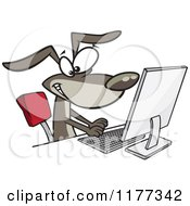 Cartoon Of A Happy Dog Typing At A Computer Royalty Free Vector Clipart