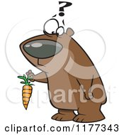 Confused Bear Holding A Carrot