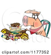Cartoon Of A Pigging Out Hog With Junk Food Royalty Free Vector Clipart