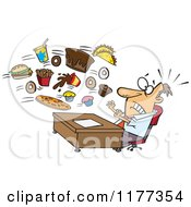 Cartoon Of A Businessman Being Bombarded With Junk Food At The Office Royalty Free Vector Clipart by toonaday