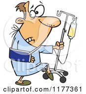 Cartoon Of A Man Trying To Escape The Hospital Royalty Free Vector Clipart