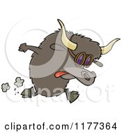Cartoon Of A Racing Yak Wearing Goggles Royalty Free Vector Clipart