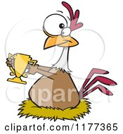 Cartoon Of A Prized Chicken Holding A Golden Trophy Royalty Free Vector Clipart by toonaday