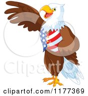 Cartoon Of A Patriotic American Bald Eagle Presenting And Wearing A USA Vest Royalty Free Vector Clipart by Pushkin
